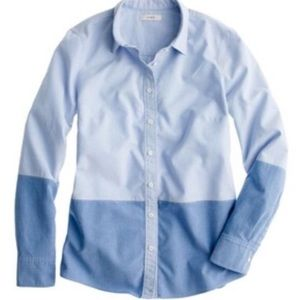 J. Crew Color Block Button Up Chambray Boy Shirt 4